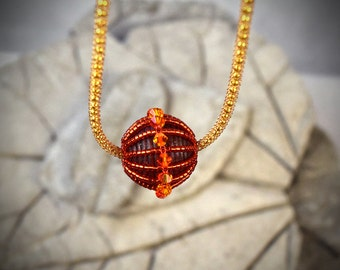 Sphere Pendant - short necklace - orb necklace - Red Ball Pendant - Crystal Orb Pendant - Glass Orb Pendant - Crystal Sphere Pendant