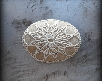 Lace Stone, Crocheted, Ecru Thread, Table Decorations, Original, Handmade, Home Decor, Unique Gift, Monicaj