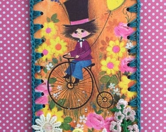 Crocheted Ornament / Tag / Book Mark - Bicycle Boy -  Recycled Vintage Greeting Card