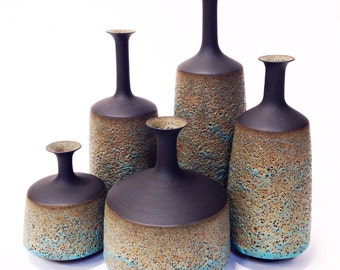 Made To Order-  set of 5 ceramic stoneware architectural bottle vases by sara paloma pottery .  minimal mid century modern  interior design