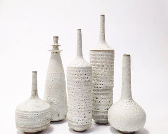 Made to order-  set of 5 large ceramic stoneware vases in rustic modern white matte crater glaze by sarapaloma
