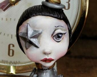 Pop Surrealism Artist Toy Collectible Sculpture Art Silver Octo Girl Kawaii