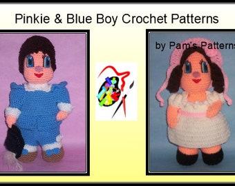 Blue Boy & Pinkie Dolls Crochet Patterns, crochet boy doll, crochet girl doll, crochet patterns