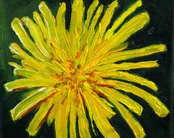 Dandelion, Oil Painting, Original Square, 5x5 Canvas, Yellow Flower, Minimalist Design, Wall Decor, Small Little, Tiny Art, Nature Inspired
