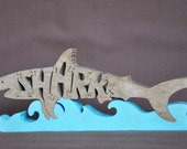 Shark Wood Puzzle Hand Cut with Scroll Saw Toy