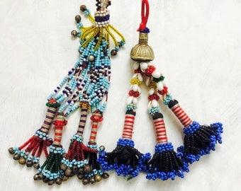 2 Vintage Kuchi Tribal Beaded Tassels. Bag Tassels, Door Decor, Belly Dance Costumes! #2