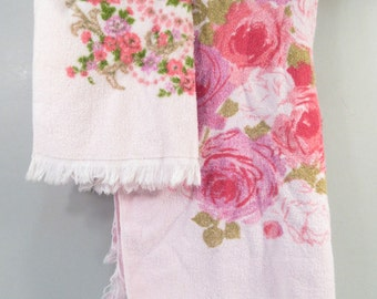 Vintage towel set, pink rose towels, small bath towel and hand towel, mid century modern, floral roses pink shabby chic