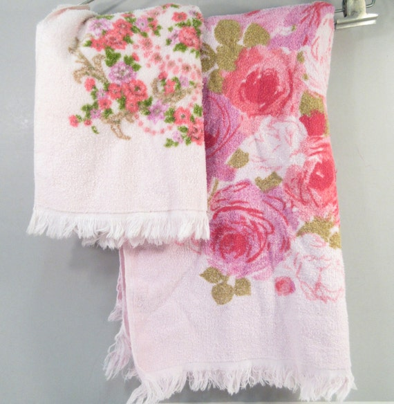 Reproduction Vintage Bath Towels: Vintage Towel Set Pink Rose Towels Small Bath Towel And Hand