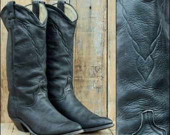 Black Cowboy Boots, Womens Cowboy Boots, Us 9, Uk 7, Eu 40, Leather Cowboy Boots, Womens Black Boots, Deer Skin Boots, Womens Boots 9,