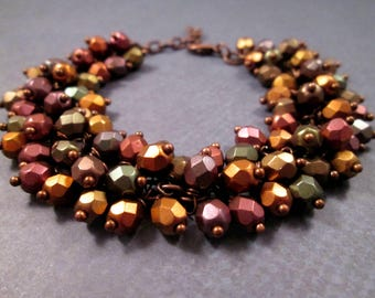 Copper Cha Cha Bracelet, Wire Wrapped Warm Metallics, Glass Beaded Bracelet, FREE Shipping U.S.