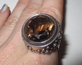 SALE Vintage Sterling Silver Smoky Quartz Topaz Ring, 6 1/2 6.5 HUGE