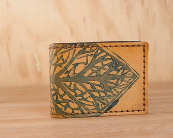 Leather Bifold Wallet - Mens or Womens - Leaf pattern in Blue and Antique Tan - Handmade - Third Anniversary Gift