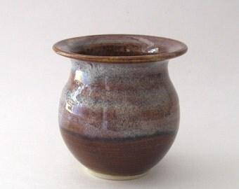 Ikebana Vase with Pin Frog - Coffee Latte Glaze