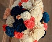 Sola flower bouquet, wedding bouquet, navy blue wedding flowers, wood flower bouquet, coral and navy eco flowers, coral sola wood flowers