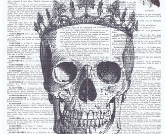 Skull,crown,Birthday,Gift ,French,Paris.Repurposed,Antique Book Page,buy 3 get 1 free.altered art.birthday.mom.catrina.day of dead.whimsy