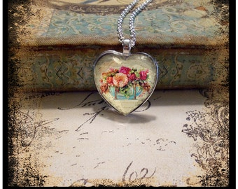 All Of My Love, heart pendants, vintage inspired pendants, gift boxed and ready to ship, heart pendants, valentine gifts, hearts, flowers