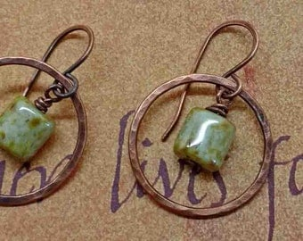 Hammered Copper Hoop Earrings With Green Bead Dangle, Copper and Green Earrings, Rustic Artisan Jewelry, Handmade Women's Accessories