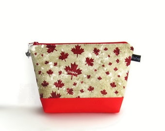 Wedge Bag, Mini Knitting Project Bag, Maple Leaves, Canada, O Canada, Canada 150, Canada Sesquicentennial