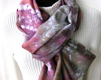 Silk Scarf for Women Hand Dyed Infinity Scarf Cowl Fall Winter Scarf Fashion Accessories Gift for Her Unique Handmade Scarf boho Bronze Plum