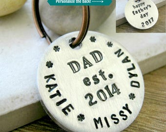 Personalized Dad keychain, Personalized Father's Day gift, gift for Dad, Personalized Dad gift, Daddy keychain, two sided, sturdy disc,