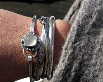 20% OFF Today White moonstone sterling silver bangle bracelet