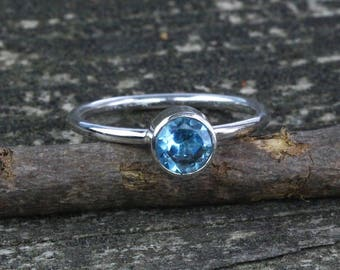 Swiss blue topaz  sterling silver ring