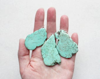 Turquoise Magnesite Stone Focal Slab Beads - Set of 3
