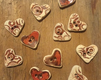 FREE SHIPPING Set of 11 Handmade Mini Ceramic Buttons - Red Hearts