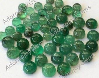Gemstone Cabochon Emerald 5mm Round FOR ONE
