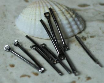 Gun metal finish stick drop dangle 20mm long 16g thick, 12 pcs (item ID XM00576GM)