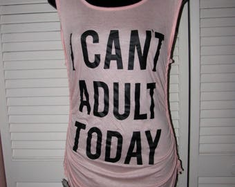super soft seashell pink black I cant Adult Today cut up shredded backless t shirt tank top tunic one size fits most