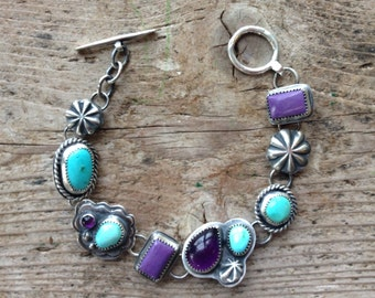 25% off  SALE!     Sterling silver, handmad , treasure bracelet, Amethyst, Charoite, Campitos turquoise.  One of a kind eclectic bracelet.