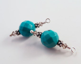 Turquoise and Sterling Silver Earrings, Bohemian Style, Robin's Egg Blue, Interchangeable, Mother's Day Gift for Her, December Birthstone