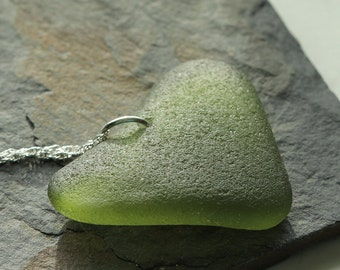Green Heart shaped sea glass Necklace - Sea glass jewelry - Gift for her - Beach glass necklace - Heart necklace - Alaska green sea glass