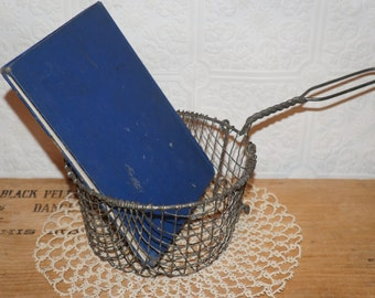 vintage old metal wire fry dipper basket