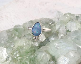 OPAL SHAKTI RING // size 7.5 sterling silver // made to your size in byron bay // genuine australian opal