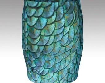 Mermaid skirt turquoise seapunk pencil skirt blue green scales size xs s m l xl unique mythical mermaid stretchy skirt