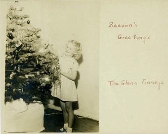 vintage photo 1951 Seasons Greetings Girl Trims Christmas Tree Card photo letter