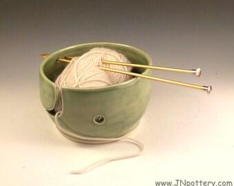 Ceramic Yarn Bowl - Handmade Stoneware - Knitting Accessory - Knitter Gift - Yarn Holder - Crochet Helper - Celadon Spring Green v619