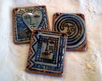 3 Ceramic and Glass Beads, Boho Beads, Rustic Beads, Loose Beads, Focal Beads, Pottery Beads