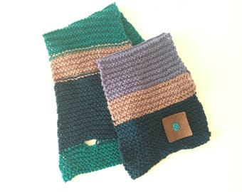 Beginner knitting kit - blue green - knitting kit - FREE SHIPPING