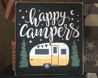 Happy Campers Handpainted Primitive Wood SIgn Wall hanging plaque Outdoor Country