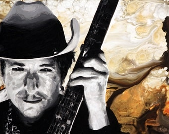 """Western Bob Dylan signed 24""""x18"""" canvas giclee"""
