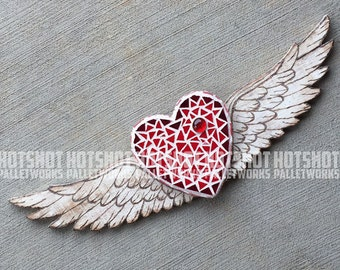 On the Wings of Love, Hand Painted, Wood Burned, Moscasiced Wood Sign