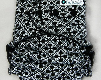 Made to Order Cloth Diaper or Cover - Black Quatrefoils - You Pick Size and Style - Gender Neutral Black and White - Custom Nappy or Wrap