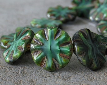 Forest Greens Czech Glass Chunky Bead 14mm Picasso Coin :  6 pc Green 14mm Coin