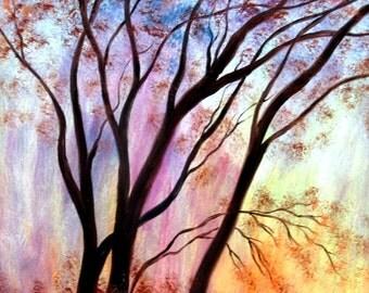 Photo Print -  Autumn Sweeping Trees # 1-   8 x 10 - BUY 2 get 1 FREE