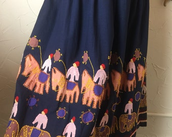 1970s skirt hippie skirt novelty print skirt size medium vintage skirt bohemian skirt ethnic skirt