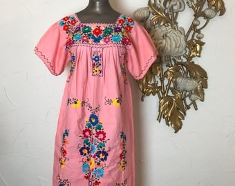 1970s dress tunic dress mexican dress embroidered dress festival dress size medium coral dress