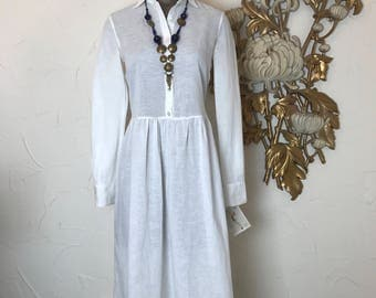 Cotton dress white dress shirtwaist dress size medium vintage dress minimalist dress button front dress